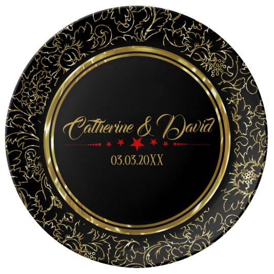 Gold Damask And Red Stars Plate