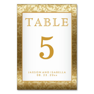 Gold Damask and White - Table Card