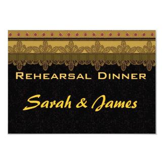 Gold damask brocade Vintage wedding rehearsal Card