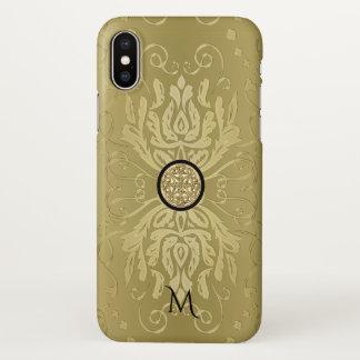 Gold Damask Celtic Knot Monogram iPhone X Case
