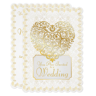 Gold Damask Filigree & Heart Wedding Invitation