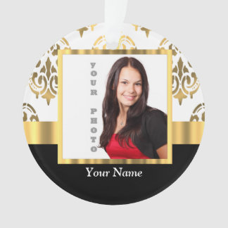 Gold damask instagram photo template ornament