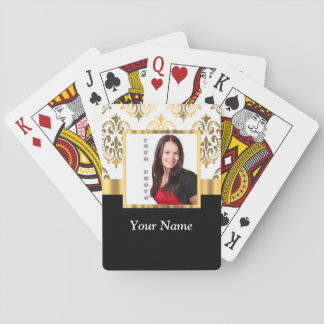 Gold damask instagram photo template playing cards