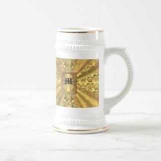 Gold damask monogram 18 oz beer stein