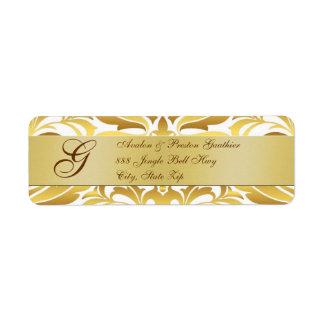 Gold Damask Monogram Christmas Address Labels