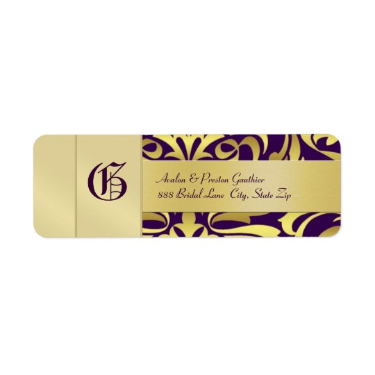Gold Damask Monogram Purple Wedding Address Label
