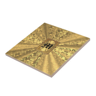 Gold damask monogram tile