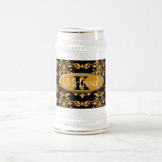 Gold Damask On Black Monogram 18 Oz Beer Stein