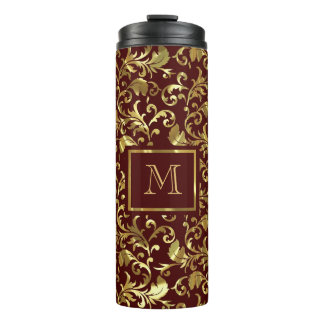 Gold Damask On Brown Background Thermal Tumbler