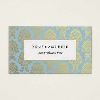 Gold Damask on Light Blue Pattern Business Card