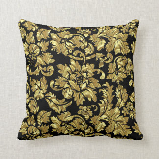 Gold Damask Over Black Background Throw Pillow