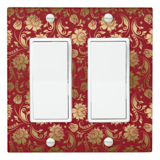 Gold Damask Over Deep Red Background Light Switch Cover