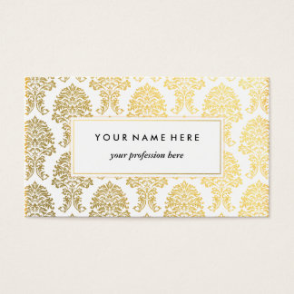 Gold Damask Pattern Business Card Template