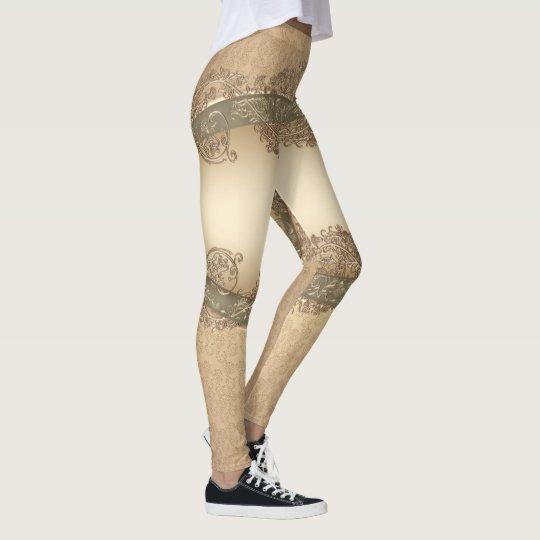Gold damask pattern shimmer Leggings