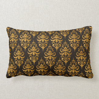 Gold Damask Pattern Throw Pillow