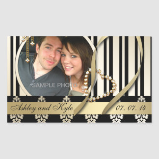 Gold Damask Photo Names Save the Date Labels