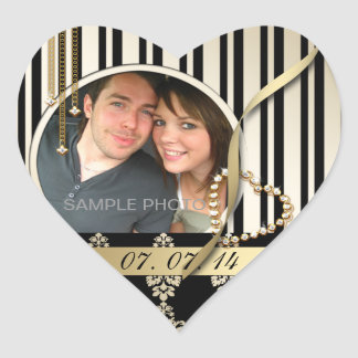 Gold Damask Photo Save the Date Labels Heart Shape