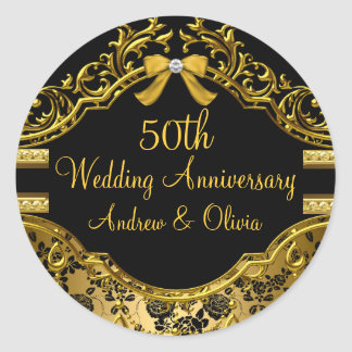 Gold Damask Rose 50th Anniversary Sticker