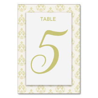 Gold Damask Table Card