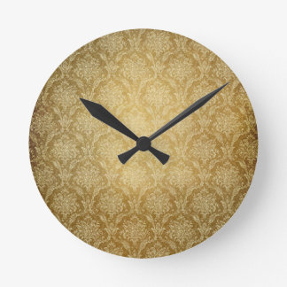Gold Damask Wall Clock