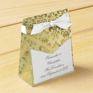 Gold damask wedding favor box