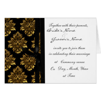 Gold Damask Wedding invite