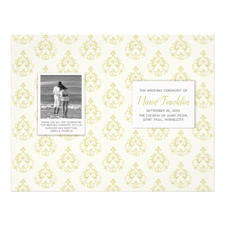 Gold Damask Wedding Program Flyer