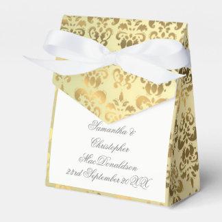 Gold damask wedding wedding favor box