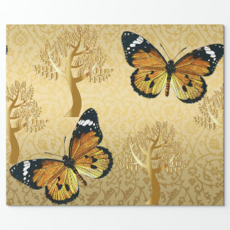 Gold Damask with Gold Trees and Butterflies Wrapping Paper