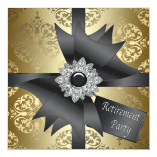 """Gold Damask Womans Retirement Party 5.25"""" Square Invitation Card"""