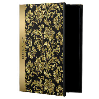 Gold Damasks On Black Background Monogram iPad Air Cover