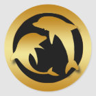 GOLD DANCING DOLPHINS CLASSIC ROUND STICKER