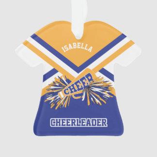 Gold, Dark Blue and White Cheerleader Ornament