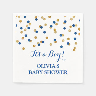 Gold Dark Navy Blue Confetti Baby Shower Paper Napkins