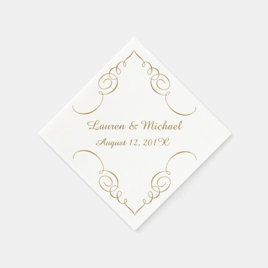 Gold Dark Swirl Border Personalized Wedding Paper Napkins