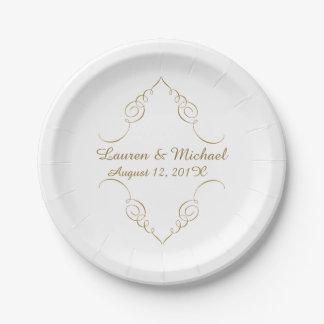 Gold Dark Swirl Border Personalized Wedding Paper Plate