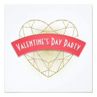 Gold Deco Heart Valentine's Day Card
