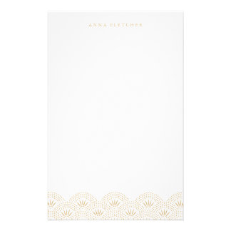 Gold - Deco Seigeiha Personalized Stationery