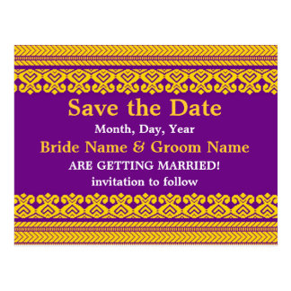 Gold decorative art Save The Date Postcard