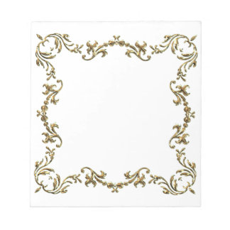 Gold Decorative Floral Border Notepad