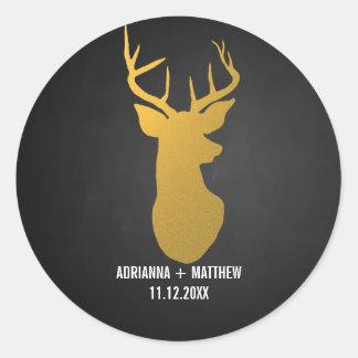 Gold Deer / Antler Chalkboard Wedding Classic Round Sticker