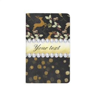Gold Deer Confetti Diamonds Chalkboard Journal