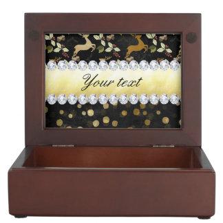 Gold Deer Confetti Diamonds Chalkboard Keepsake Box