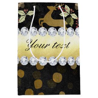 Gold Deer Confetti Diamonds Chalkboard Medium Gift Bag