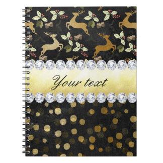 Gold Deer Confetti Diamonds Chalkboard Notebooks