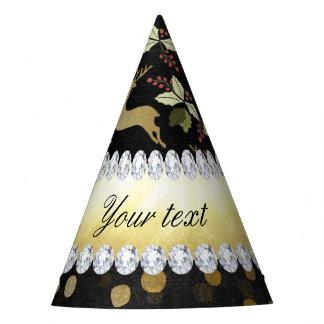 Gold Deer Confetti Diamonds Chalkboard Party Hat