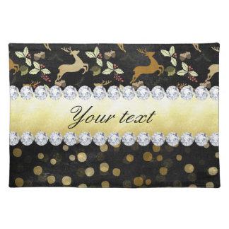 Gold Deer Confetti Diamonds Chalkboard Placemat