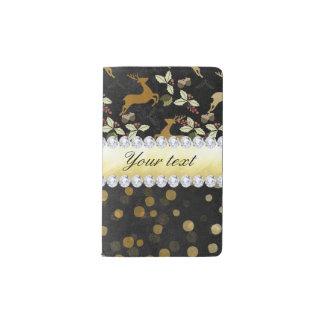 Gold Deer Confetti Diamonds Chalkboard Pocket Moleskine Notebook