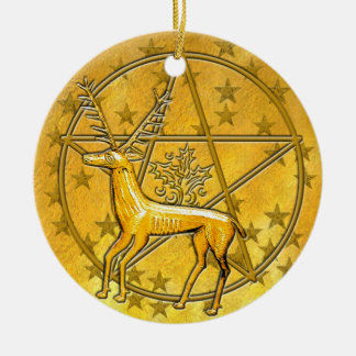 Gold Deer & Pentacle #5 Round Ceramic Ornament