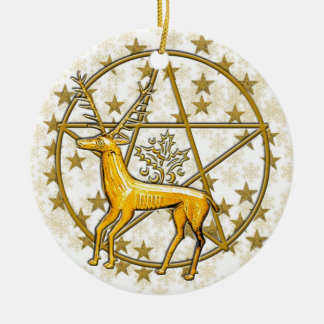 Gold Deer & Pentacle Date Monogrammed #3 Round Ceramic Ornament